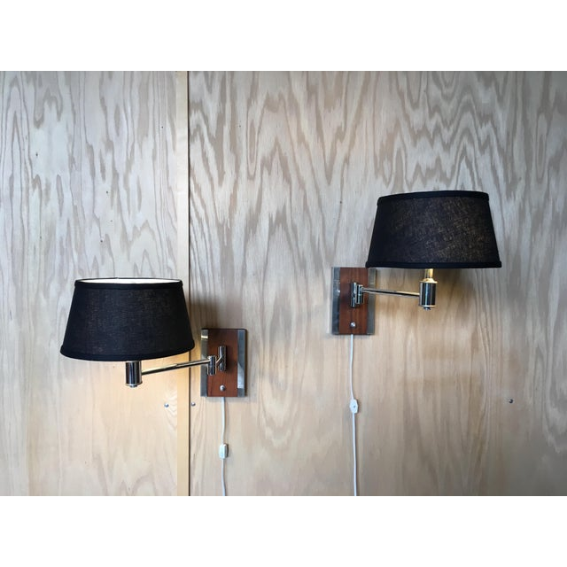 Mid-Century Modern Walnut and Chrome Articulated Sconces - a Pair For Sale - Image 13 of 13