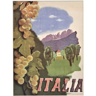 Italy Travel Vintage Matted Lithograph 1937 For Sale