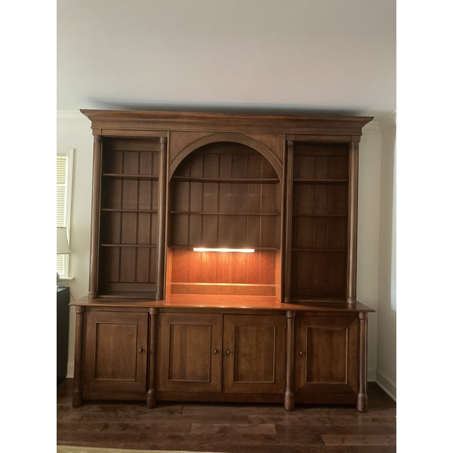 Cherry Triple Bookcase Breakfront Cabinet by Henredon For Sale - Image 10 of 13