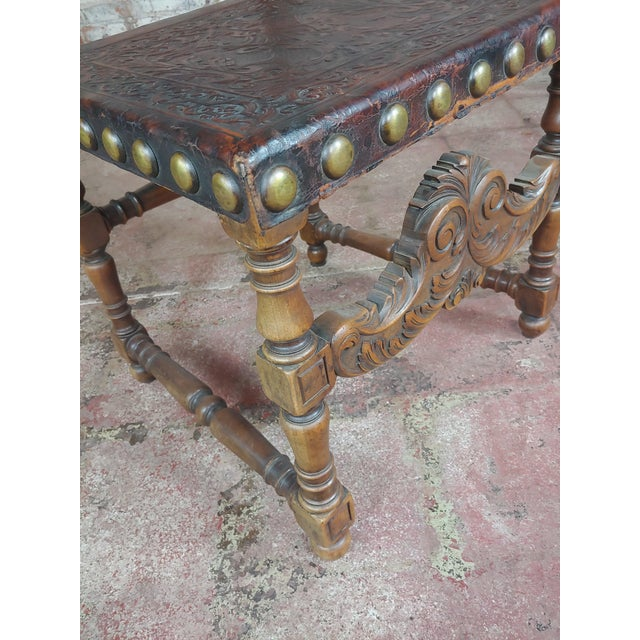 19th Century Portuguese Side Chairs Embossed Leather -A Pair For Sale - Image 4 of 10
