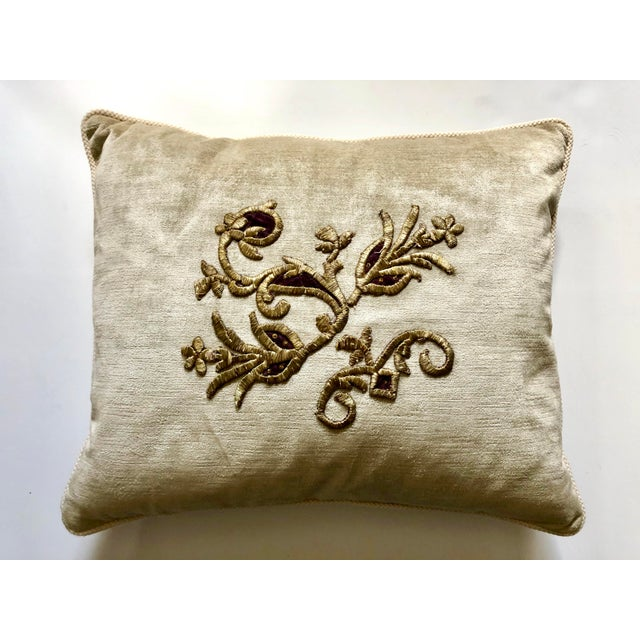 Velvet Pillow With 19th Century Metallic Gold Wire Floral Embroidery For Sale - Image 9 of 13