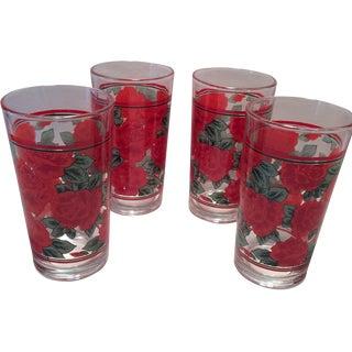 Vintage Rose Pattern Glasses - Set of 4 For Sale