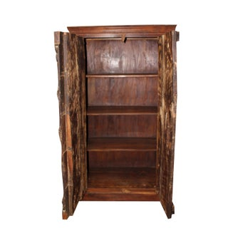 1920s Rustic Handcarved Old Wood Iron Door Armoire Preview