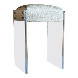 Gigi Lucite and Hide Counter Stool For Sale