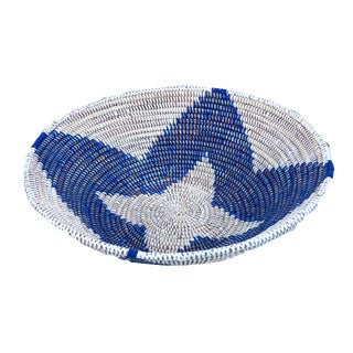 "Lg B & W Handmade Woven Wolof Basket From Senegal 16.5"" in Diameter For Sale"