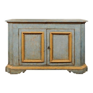 Italian Florentine Light Grey Blue Painted Buffet with Two Doors from the 1820s For Sale