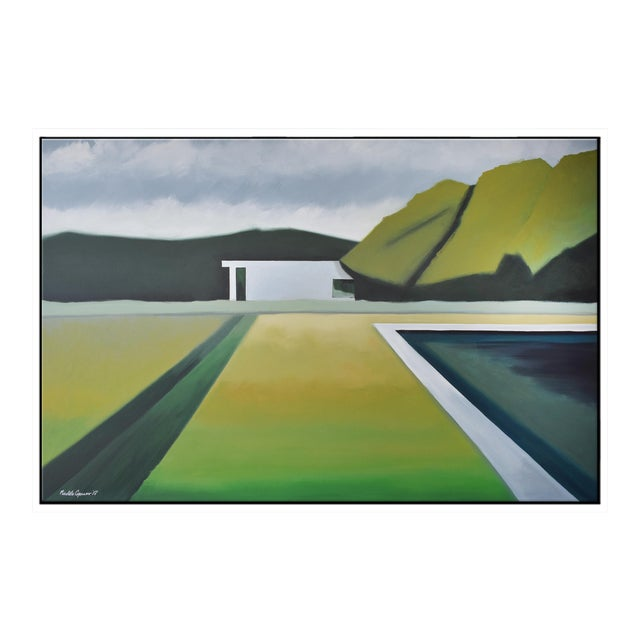 """Abstract Landscape Poolside"" - Framed Print 40x60 For Sale"