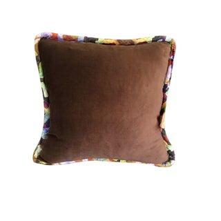 Boho Chic Brown Luxurious Velvet Pillow - 22x22 For Sale