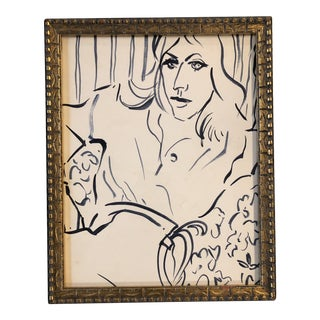 Vintage Original Matisse Style Blue Painting of Woman For Sale