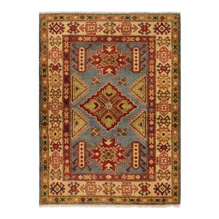 Kazak Fabian Blue & Ivory Hand-Knotted Wool Rug - 3′ × 4′11″ For Sale