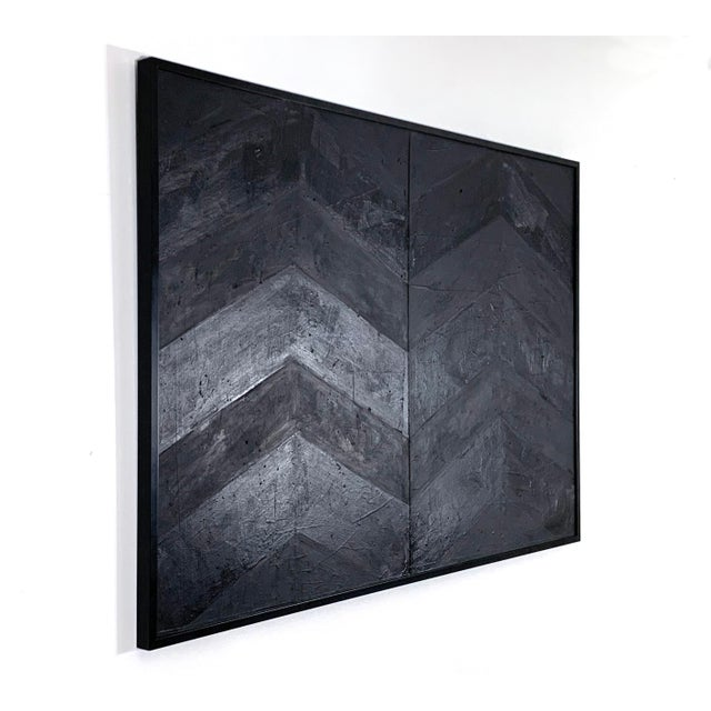Abstract Minimal Black Geometric Painting For Sale - Image 3 of 10