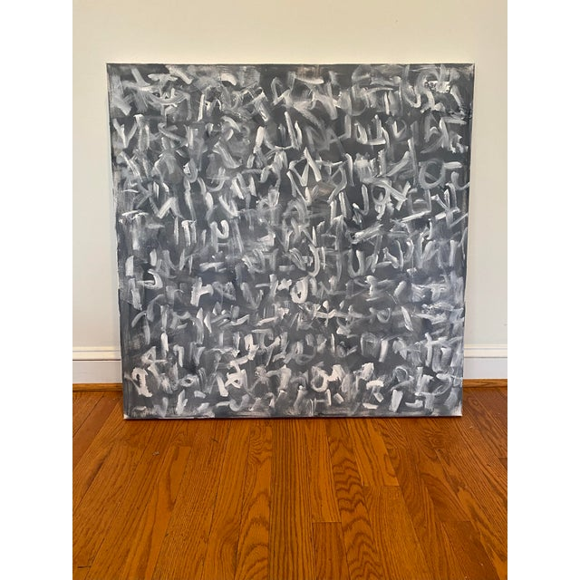 """Contemporary """"Non-Sense No. 2"""" Contemporary Abstract Black and White Acrylic Painting by Sarah Trundle For Sale - Image 3 of 3"""