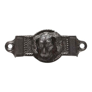 Original Victorian Cast Iron Dog Face Bin Pull For Sale
