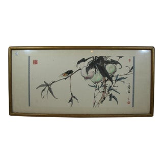 Peach and Cicada Chinese Watercolor Painting by Jin Yongnian For Sale