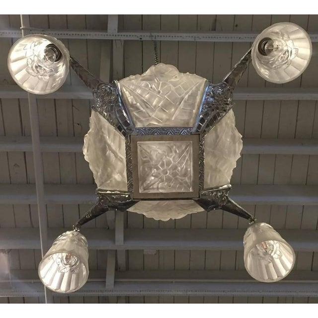 1930s Degue Signed French Art Deco Chandelier For Sale - Image 5 of 5
