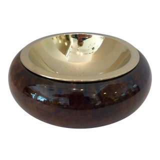 Mid-Century Goatskin Lacquered Wood & Brass Bowl, Aldo Tura Italy For Sale