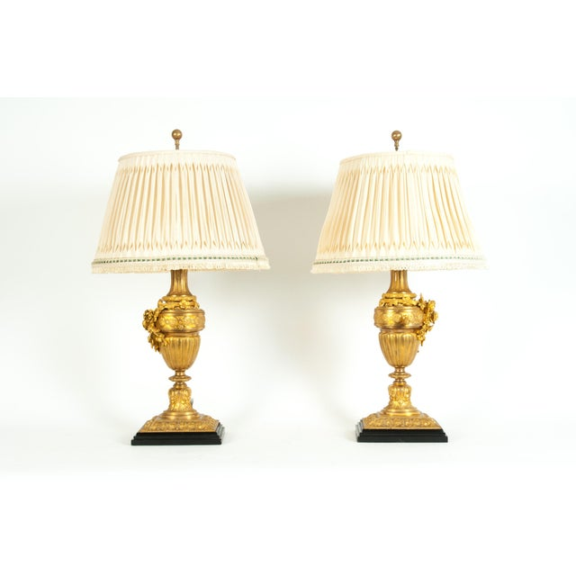 Empire Louis XVI Style Doré Bronze Table Lamps - a Pair For Sale - Image 3 of 13