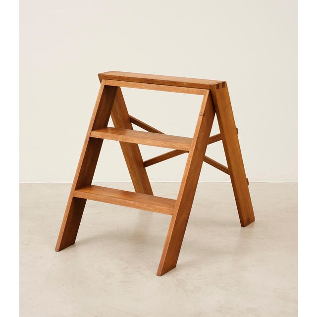 Cabinetmaker's Folding Step Ladder in Teak and Brass, Denmark 1940s For Sale - Image 11 of 11