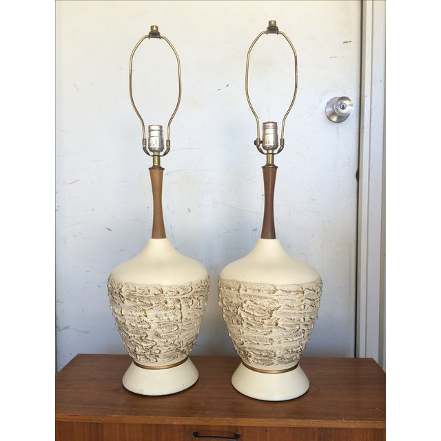 Mid-Century Ceramic & Walnut Table Lamps - A Pair - Image 2 of 7