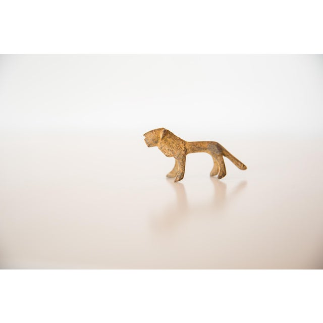Old New House Vintage African Mini Bronze Lion With Rusty Patina For Sale - Image 4 of 7