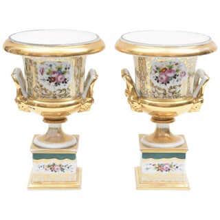 Old Paris Porcelain Urn Vases, Mid-19th Century Hand-Painted Florals Green, Pair For Sale