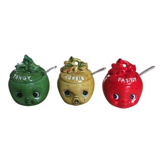 Enesco Apple Face Condiment Jars - Set of 3 For Sale
