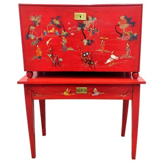 Japanese Style Red Lacquer Fall-Front Chest, 20th Century For Sale
