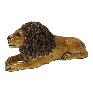 1950s Vintage Porcelain Lion Figurine For Sale