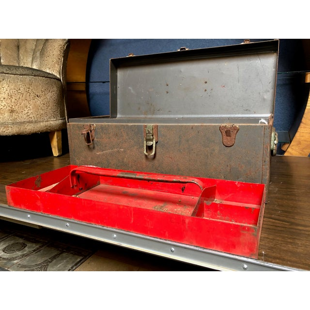 Vintage Car-Racing Crew Rusted Metal Patina Tool Box For Sale - Image 9 of 11