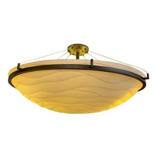 Justice Design Porcelina Large Round Wave Bowl W/Dark Bronze Ring Semi-Flush Mount Pendant Chandelier For Sale