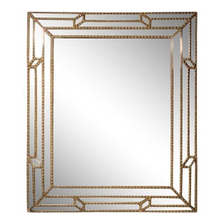 Large Baroque Italian Gilt Diamond Faceted Mirror For Sale