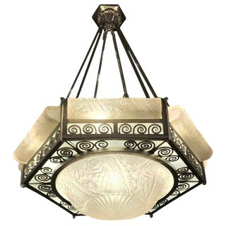 French Art Deco Hexagonal Chandelier by Schneider For Sale