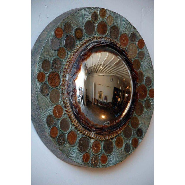 1970s Small Decorative Convex Mirror in the Style of Line Vautrin For Sale - Image 5 of 8