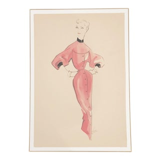 1940s Hendlin Fashion Drawing For Sale