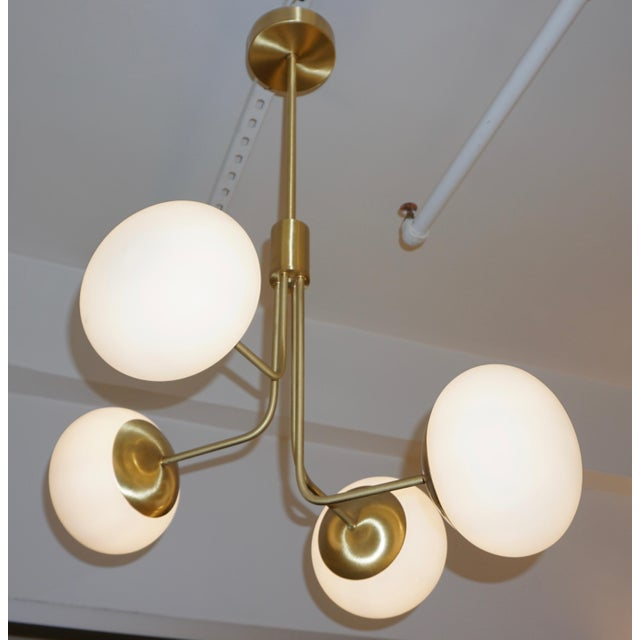 Metal Contemporary Italian Modern Satin Brass & 4 White Murano Glass Globe Chandelier For Sale - Image 7 of 13