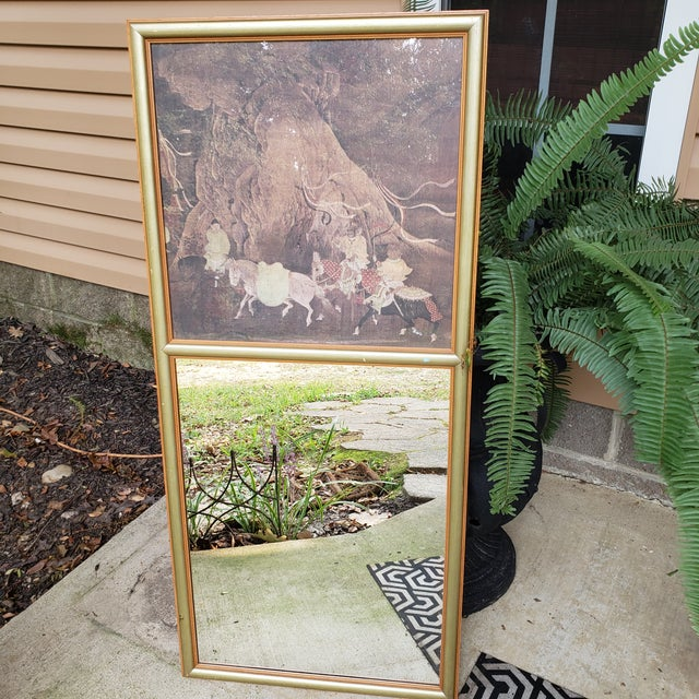 1990s Vintage Asian Chinoiserie Trumeau Wall Mirror With Top Framed Print Motif Hall Gold For Sale - Image 5 of 10