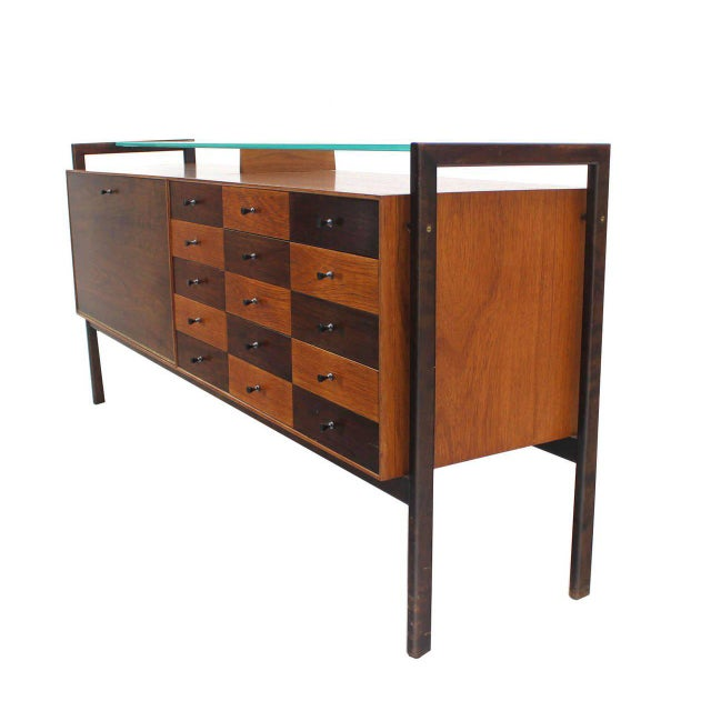 Multi Drawer Drop Front Bar Compartment Glass Shelf Top Long Dresser Checker For Sale - Image 9 of 9