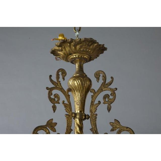 French French Three Light Solid Cast Brass Chandelier For Sale - Image 3 of 8