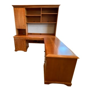 Sligh Executive Desk With Side Extension and Shelf For Sale