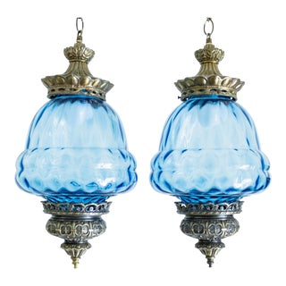 Vintage Swag Lamps | Blue Glass| Plug In - a Pair For Sale