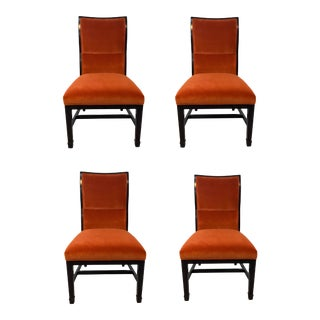 Henredon Modern Orange Velvet Dining Chairs Set of Four For Sale