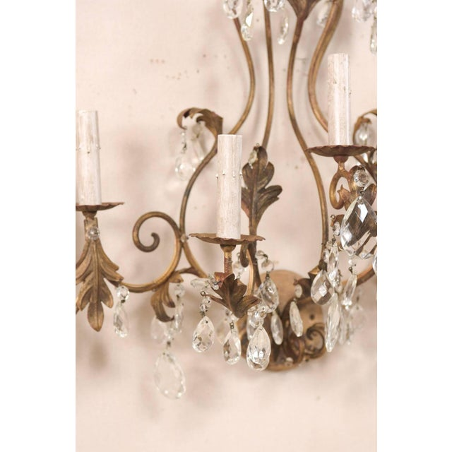 Pair of Mid-Century Seven-Light Crystal and Iron Sconces With Leaf Crest Tops For Sale - Image 10 of 11