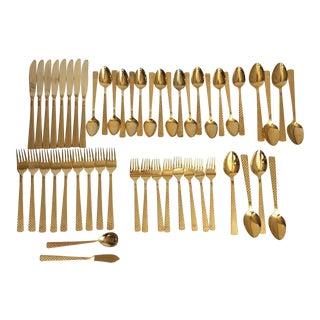 Gold Basketweave Flatware - Service for 8