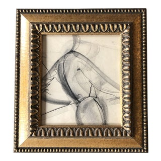 Original Vintage Abstract Charcoal Female Study Drawing Ornate Frame For Sale