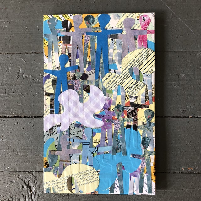 """Contemporary Original Contemporary Abstract Wayne Cunningham """"Hands Across America """" Collage For Sale - Image 3 of 3"""
