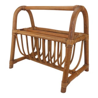 Franco Albini Style Midcentury Bamboo Magazine Stand Rack For Sale