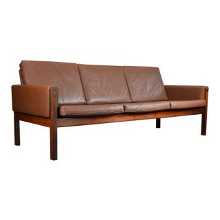 Rare Hans J. Wegner Ap62/3 Leather & Rosewood Sofa