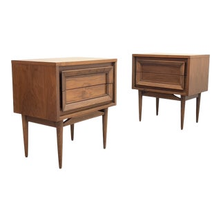 Pair of Mid Century Modern Walnut Nightstands by Basic Witz For Sale