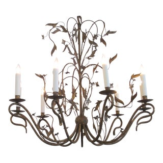 Large-Scale French 1940's Gilt-Iron 8-Light Chandelier With Foliate Vines For Sale