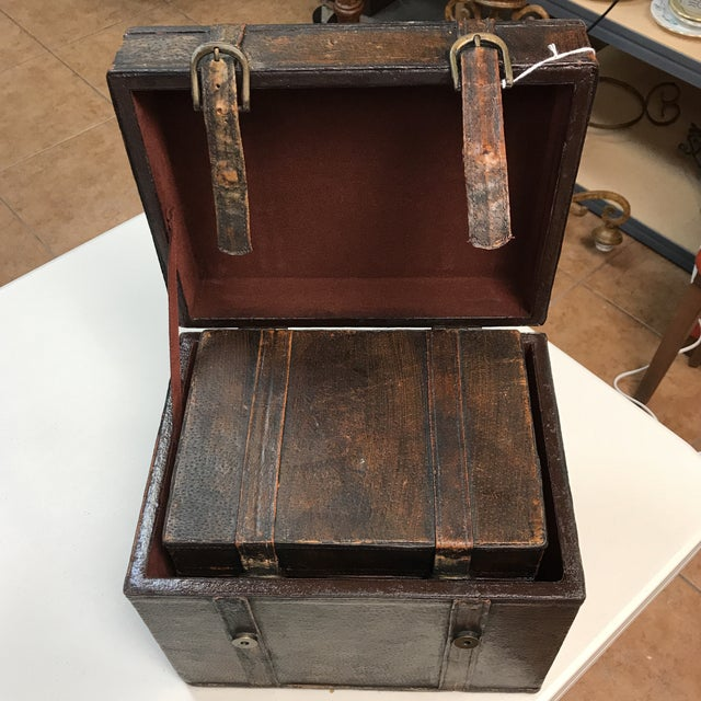 Vintage Leather Storage Boxes - A Pair For Sale - Image 11 of 11
